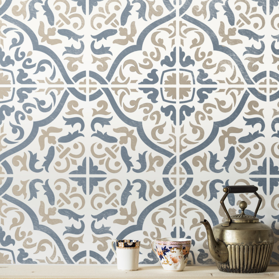 Beautiful blue and white Spanish style cement tile stenciled backsplash by @stnecilslab. #cementtilestencil #stenciledbacksplash #spanishtilestencil