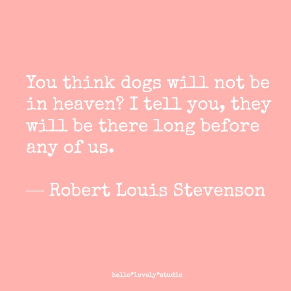 Sweetest dog quotes! You think dogs will not be in heaven? I tell you, they will be there long before any of us. Robert Louis Stevenson. #dogs #quote #robertlouisstevenson