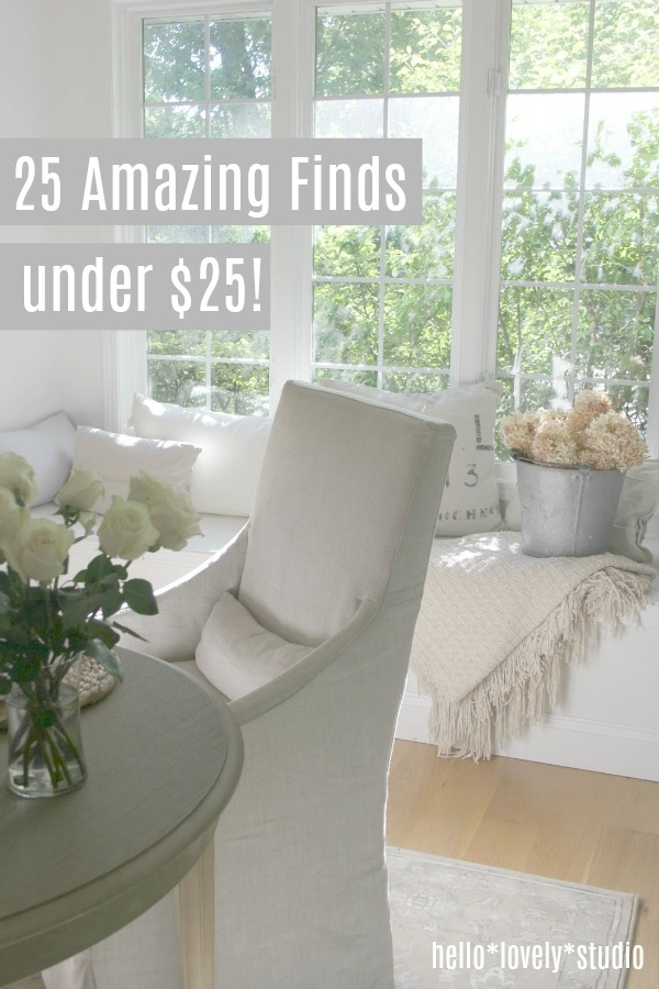 Home decor bargains! 25 amazing finds under $25 on Hello Lovely Studio. #interiordesign #homedecor #thriftyshopper