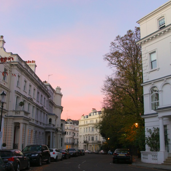 Pink sky. Notting Hill beauty, classic architecture, and inspiration from a London stroll by Hello Lovely Studio. Personal Reflections: What Does Greater Kindness to Yourself Look Like?