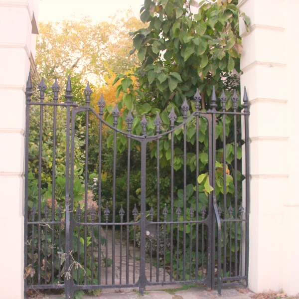 Garden gate in London. Notting Hill beauty, classic architecture, and inspiration from a London stroll by Hello Lovely Studio. Personal Reflections: What Does Greater Kindness to Yourself Look Like?
