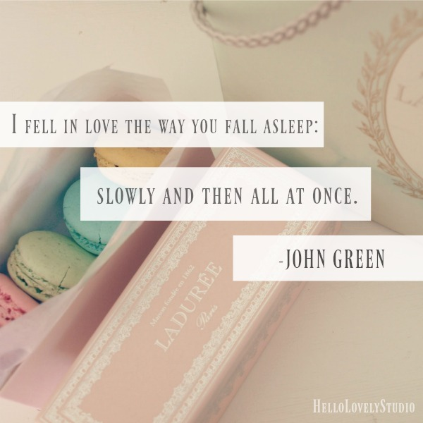 Quote from The Fault in Our Stars by John Green: I fell in love the way you fall asleep: slowly and then all at once. #quote #faultinourstars #love #hellolovelystudio