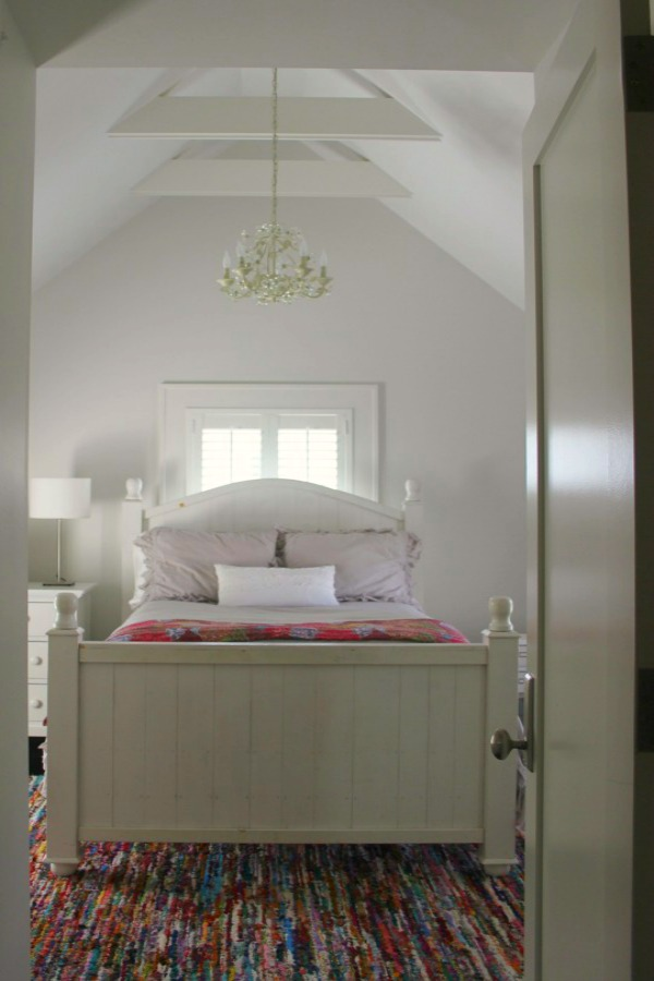 Serene modern farmhouse bedroom in a restored 1875 farmhouse. Hello Lovely Studio. #bedroom. #farmhouse #interiordesign