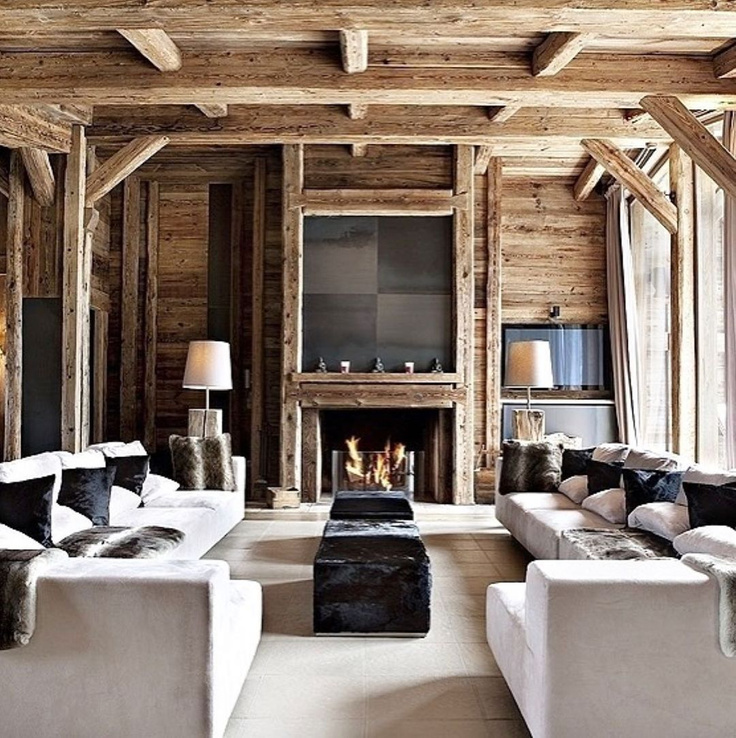 Luxurious modern rustic French chalet with gorgeous wood ceiling and wall - @whiteblancmange. #modernrustic #chalet #modernfrench #livingrooms #woodceiling