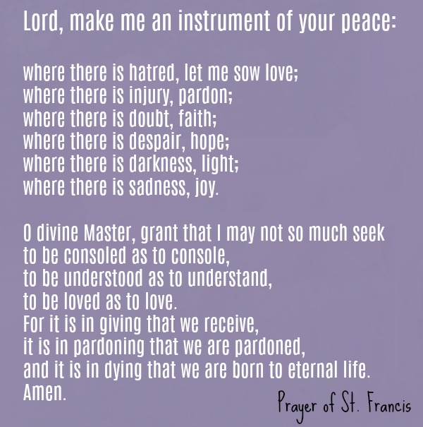 St. Francis peace prayer. Hello Lovely Studio.