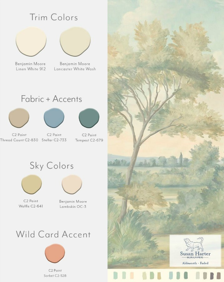 Aldsworth Faded color card for Susan Harter mural wallpapers.