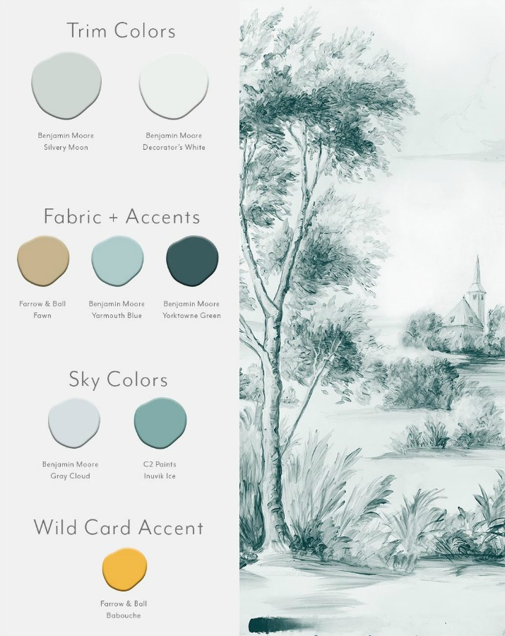 Delft Jade color card for Susan Harter wallpaper murals.