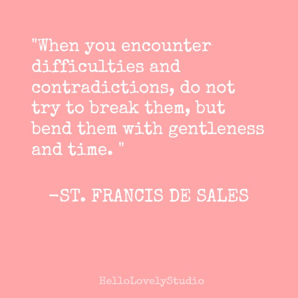 Inspiring kindness quote by St. Francis de Sales on Hello Lovely Studio.