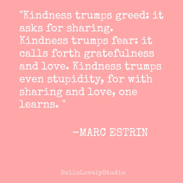 Inspiring kindness quote by Marc Estrin on Hello Lovely Studio.