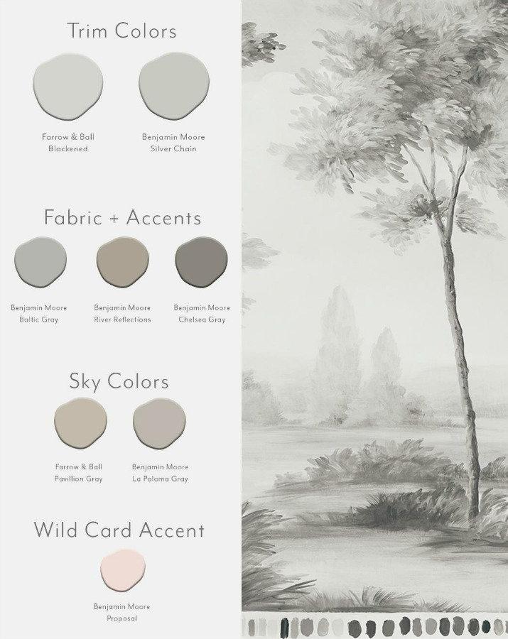 Pastoral Ash color card for Susan Harter wallpaper murals.