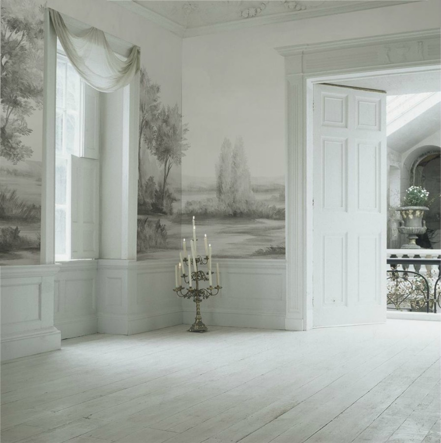 Magnificent landscape mural wallpaper made from original painting by Susan Harter. Muted and sophisticated colors in this beautifully inspiring interior design. #mural #interiordesign #timeless #ethereal #serenedecor #paintedmural #wallpaper