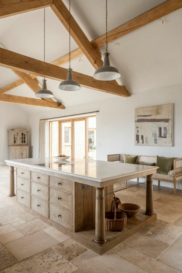 Bespoke kitchen design in England by Artichoke with large island and Flemish design details. 7 Kitchen Design Ideas to Learn from Luxurious Bespoke Kitchens! #bespoke #kitchendesign #artichoke #flemish #countrykitchen #englishcountry