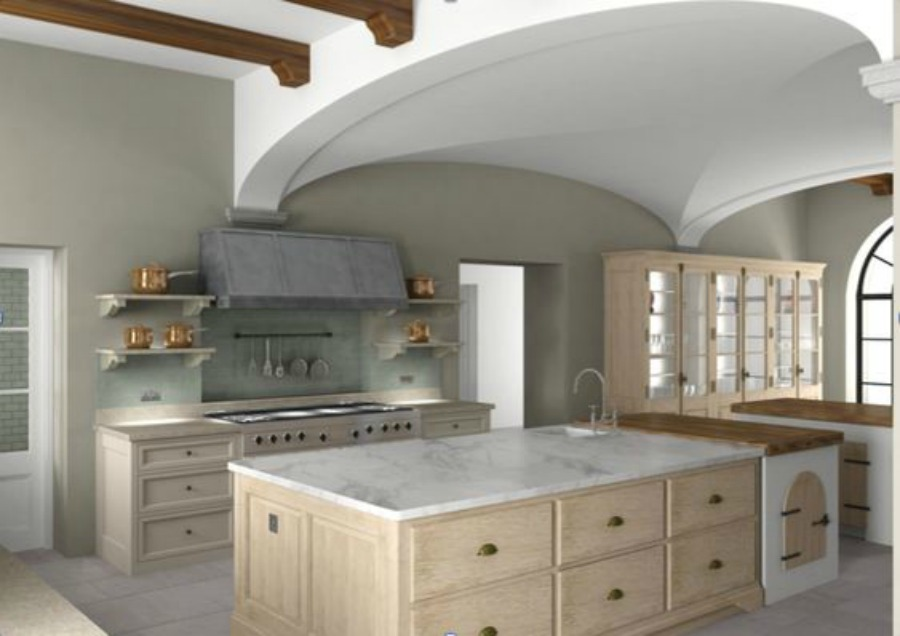 Luxurious bespoke kitchen design by Artichoke for a Tuscan villa. The primary ingredients include hand-painted tulipwood, rift cut French oak, chestnut, and acid etched zinc.