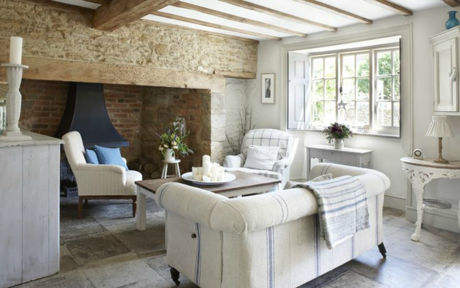 Romantic French Nordic style in a rustic living room in a Cotswolds cottage.