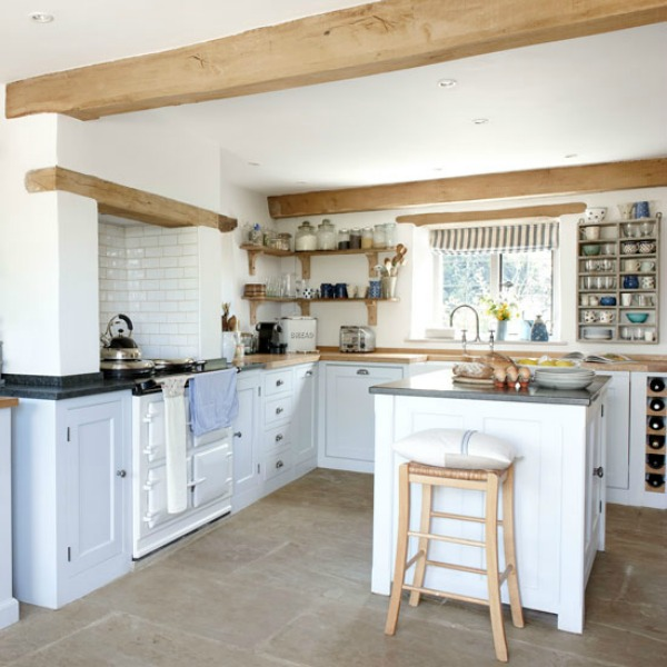 Nordic French farmhouse style in a 17th Century Cotswolds cottage kitchen.