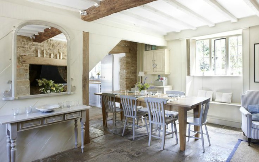 Nordic French farmhouse kitchen inspiration in a Cotswolds cottage from the 17th century.