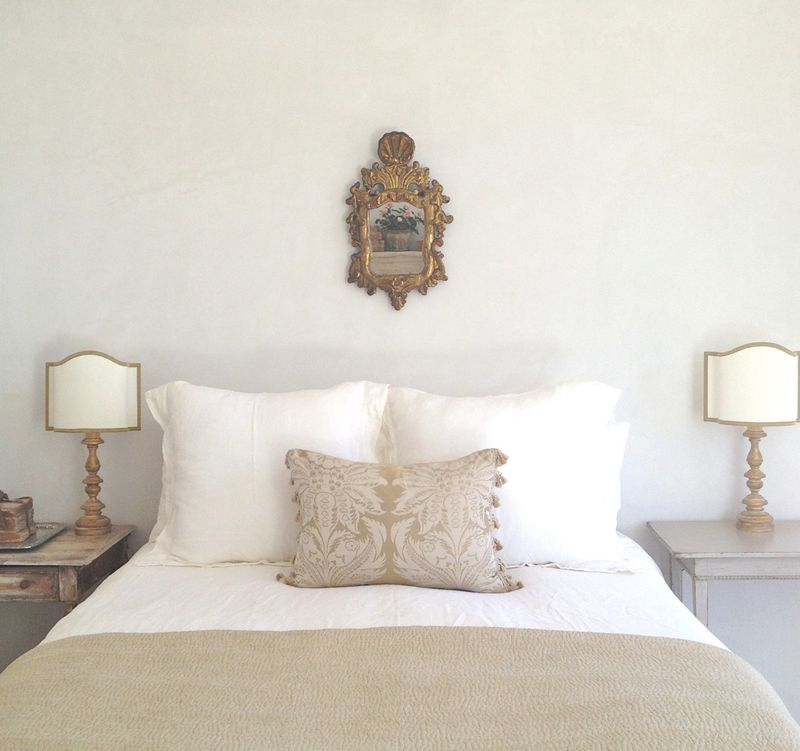 Patina Farm master bedroom. Pale and Lovely European Country White Interiors to Inspire with photo gallery.#frenchfarmhouse #interiordesign #frenchcountry