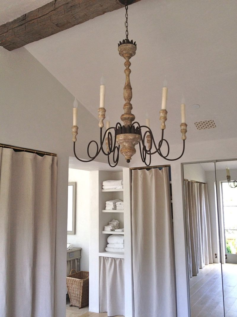 Aidan Gray chandelier and Belgian linen panels in master bath at Patina Farm - Giannetti Home.