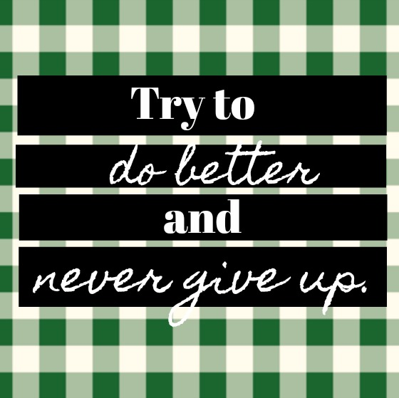 Inspirational quote from Hello Lovely Studio: Try to do better and never give up.