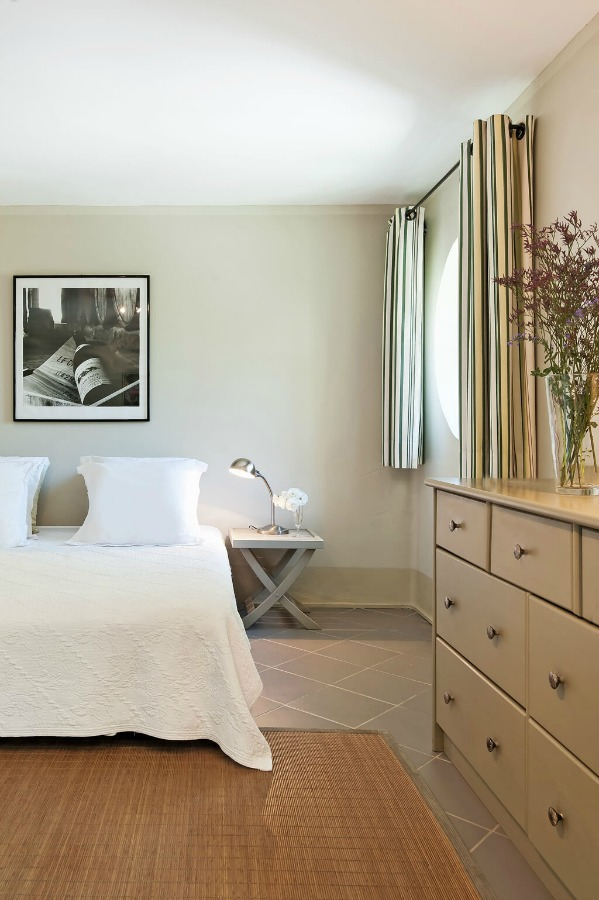 Simple bedroom. Provence dreams are made of these! Come tour French Farmhouse Design: Provence Villa Photos in a story with rustic decor, Country French charm, and South of France beauty! #frenchfarmhouse #interiordesign #housetour #frenchcountry #provence