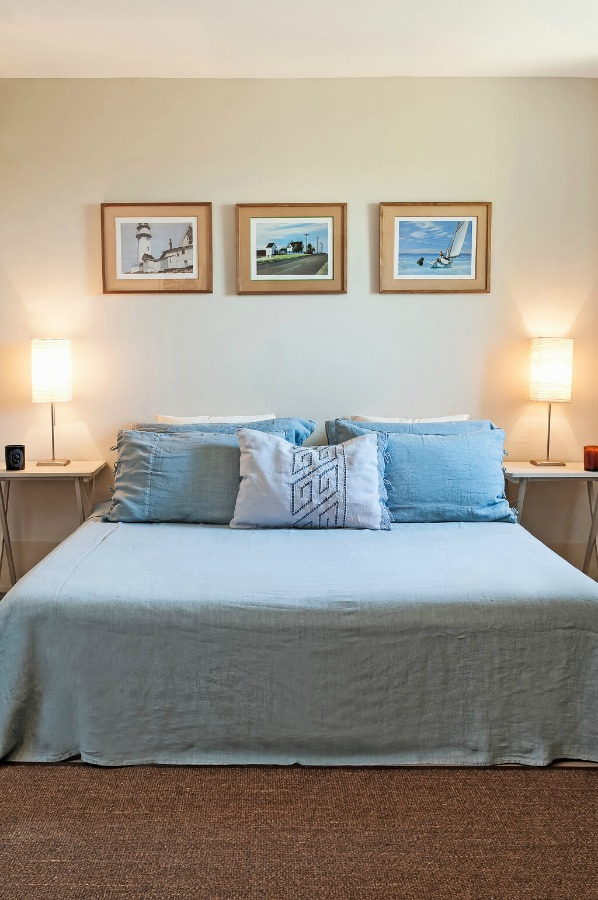 Chambray blue bedroom. Provence dreams are made of these! Come tour French Farmhouse Design: Provence Villa Photos in a story with rustic decor, Country French charm, and South of France beauty! #frenchfarmhouse #interiordesign #housetour #frenchcountry #provence