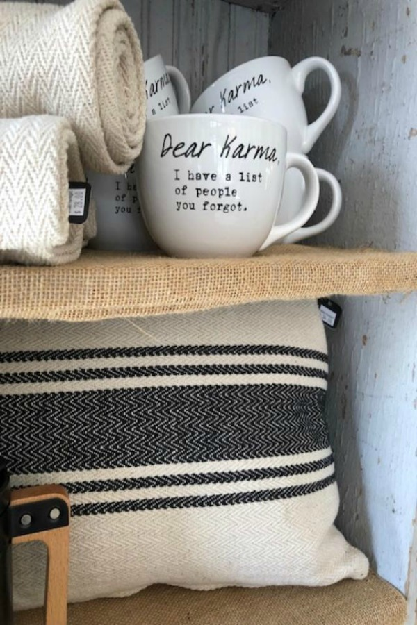 Whimsical mug at Urban Farmgirl with funny saying: Dear Karma I have a list of people you forgot. Photo by Hello Lovely Studio.