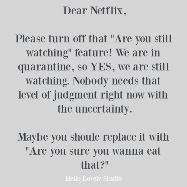 Funny humor quote about Netflix during quarantine and pandemic on Hello Lovely Studio. #humor #funnyquotes #humorquotes #quarantine #covid19