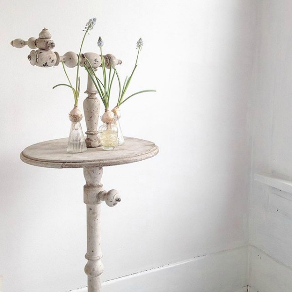 French antique shaving stand vignette by My Petite Maison. Pale and Lovely European Country White Interiors to Inspire with photo gallery.#frenchfarmhouse #interiordesign #frenchcountry