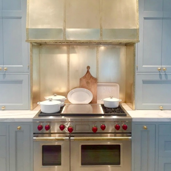 Farrow & Ball Light Blue painted cabinetry in a stunning traditional kitchen in the Southeastern Designer Showhouse 2017.