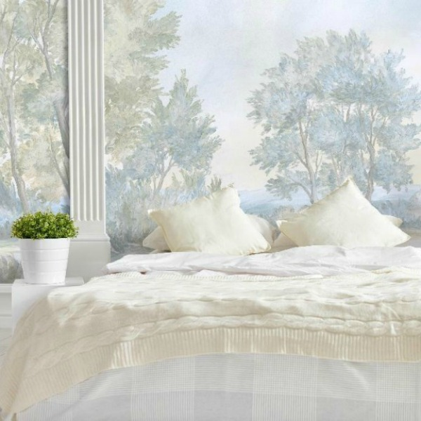 Magnificent landscape mural wallpaper in bedroom, made from original painting by Susan Harter. Muted and sophisticated colors in this beautifully inspiring interior design. #mural #interiordesign #timeless #ethereal #serenedecor #paintedmural #wallpaper