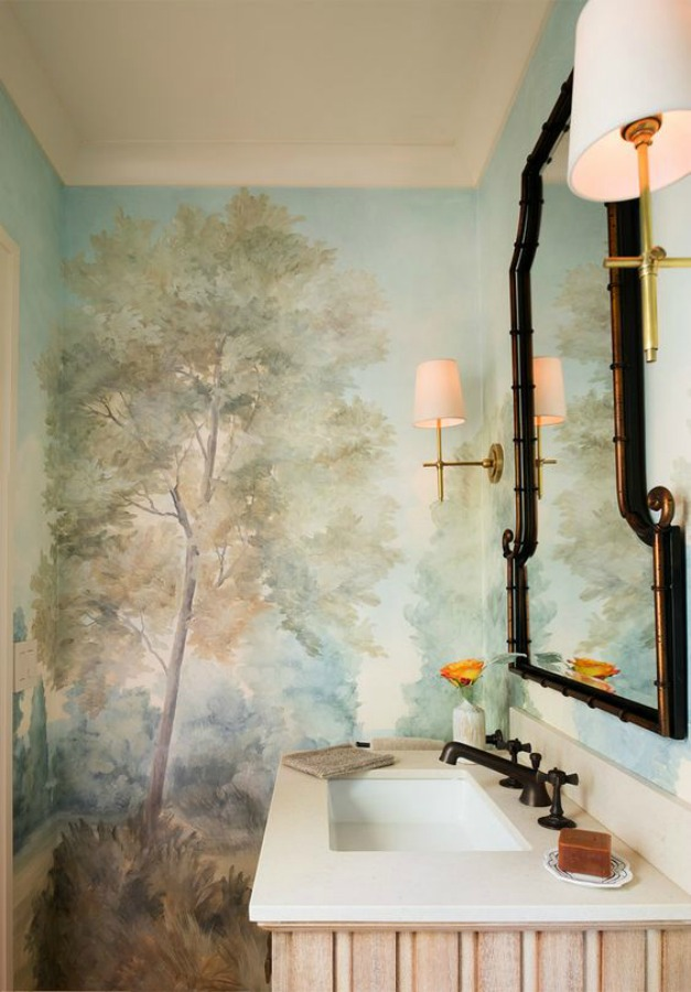 Magnificent landscape mural wallpaper in bathroom designed by Kelley Flynn, made from original painting by Susan Harter. Muted and sophisticated colors in this beautifully inspiring interior design. #mural #interiordesign #timeless #ethereal #serenedecor #paintedmural #wallpaper