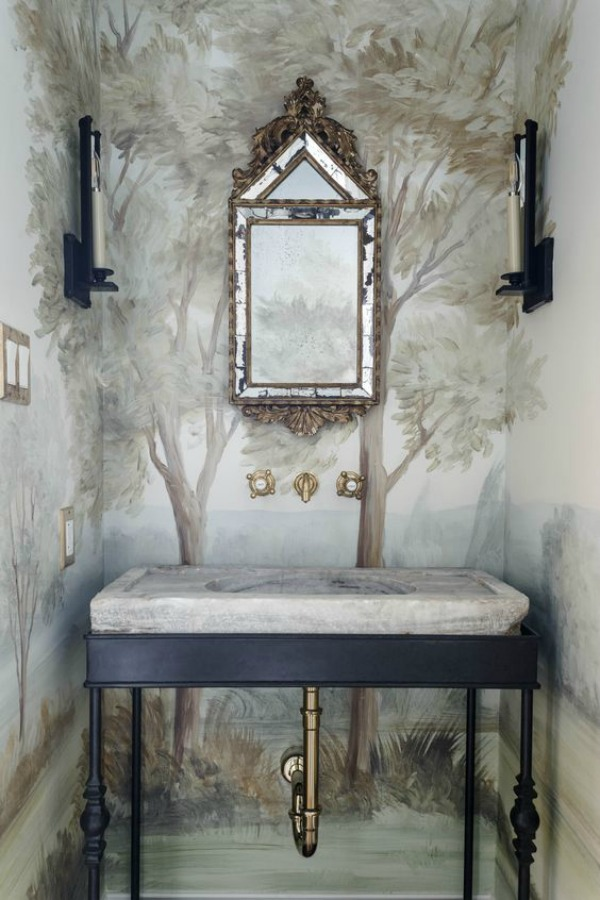 Magnificent bathroom design by Lauren Haskett with pastel landscape mural wallpaper made from original painting by Susan Harter. Muted and sophisticated colors in this beautifully inspiring interior design. #mural #interiordesign #timeless #ethereal #serenedecor #paintedmural #wallpaper