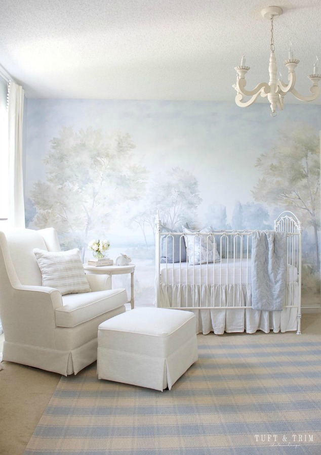 Magnificent nursery design by Tuft & Trim with landscape mural wallpaper by Susan Harter. Muted and sophisticated colors in this beautifully inspiring interior design. #mural #interiordesign #timeless #ethereal #serenedecor #paintedmural #wallpaper