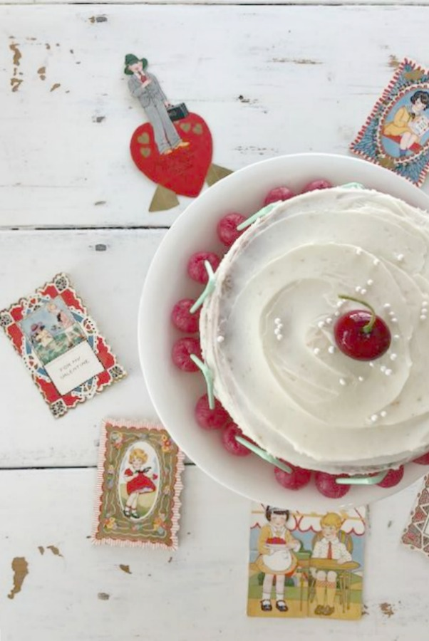Hello Lovely Studio's vintage valentines and cherry layer cake. #valentinesday #vintagevalentines