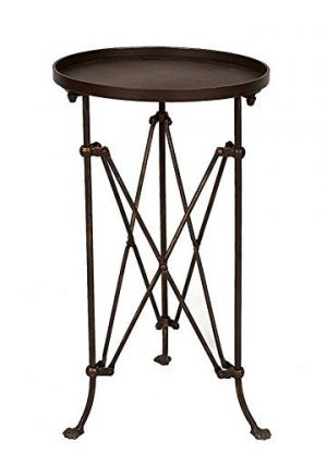 Inexpensive Round Refined Accent Table - a beautiful side table for the bedroom, living room, or even the bath! #accentable #roundsidetable #campaigntable