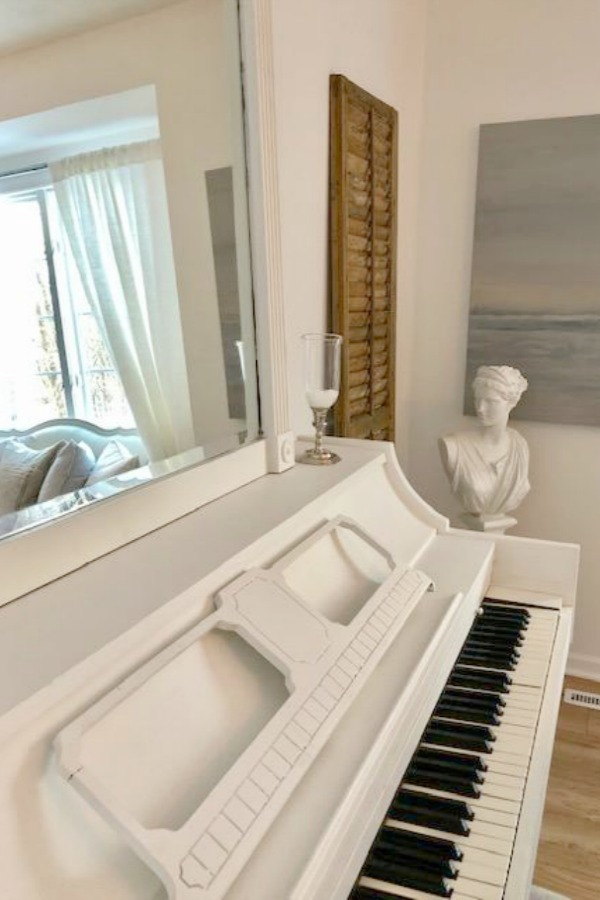 White painted piano in my studio - Hello Lovely Studio.