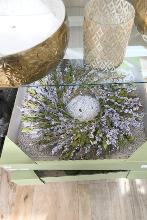 Lavender wreath. French Farmhouse Decor & Lightening Up for Spring - Hello Lovely Studio.