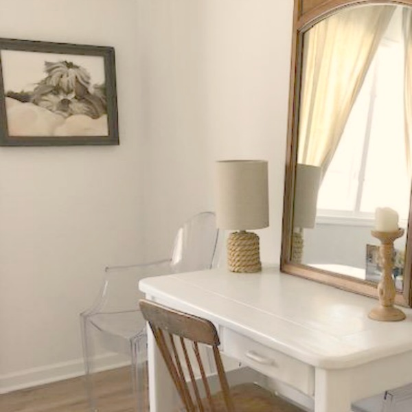 Minimal, modern rustic vintage desk and country chair in a room painted Benjamin Moore White.