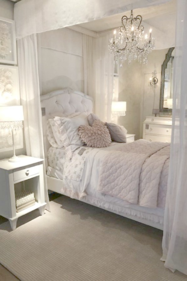 Romantic French girl's bedroom at RH Gallery Chicago. Photo: Hello Lovely Studio. Come tour photos of Restoration Hardware: Romantic French Decor Ideas on Hello Lovely Studio.