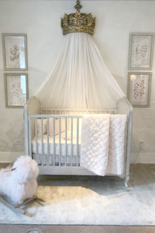 Charming and romantic French style nursery by RH at the gallery in Chicago. Photo: Hello Lovely Studio.