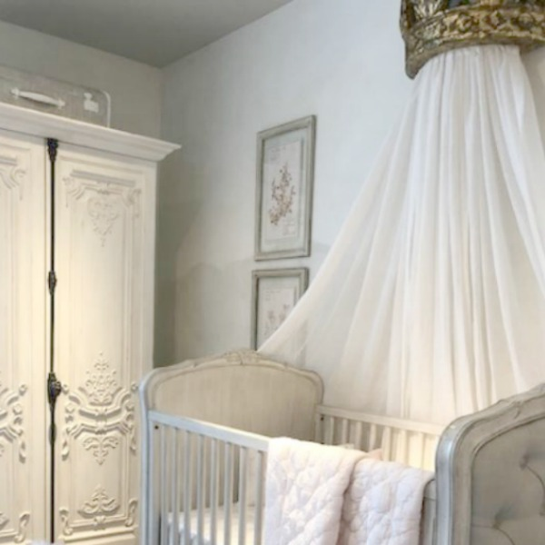 French nursery with beautiful Louis inspired pieces by RH. Photo by Hello Lovely Studio. Come tour photos of Restoration Hardware: Romantic French Decor Ideas on Hello Lovely Studio.