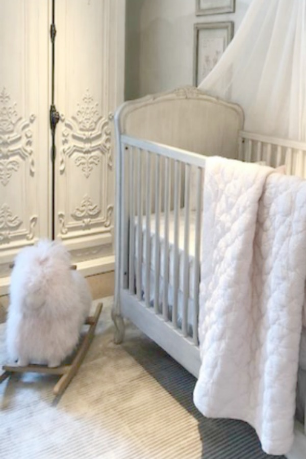 Louis XV style in a RH Child nursery at RH Gallery Chicago. Come tour photos of Restoration Hardware: Romantic French Decor Ideas on Hello Lovely Studio.
