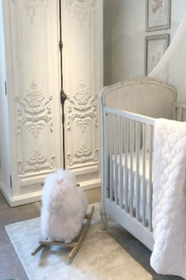 French armoire with cremone bolt in a magnificent Louis XV style nursery by RH at the gallery in Chicago. Photo: Hello Lovely Studio.