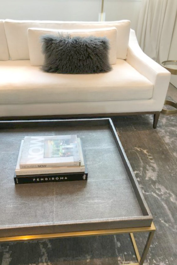 Modern and minimal living room coffee table moment at RH Gallery Chicago. Photo: Hello Lovely Studio.