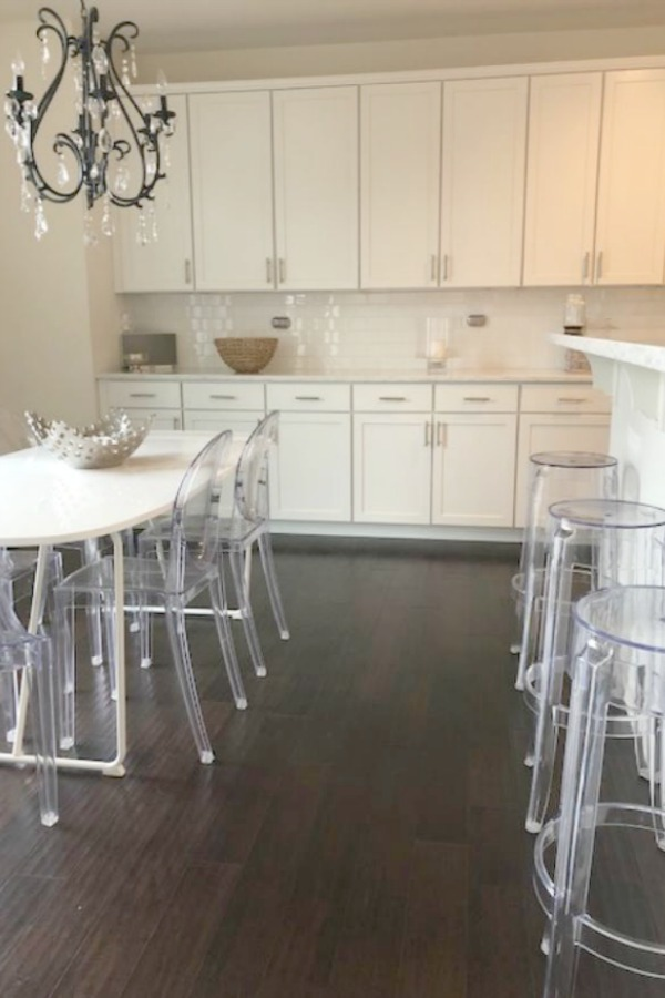 White kitchen with Viatera Minuet quartz countertops - Hello Lovely Studio.