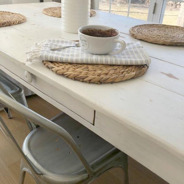 Chocolate Minute Mug Cake on my kitchen table - Hello Lovely Studio.