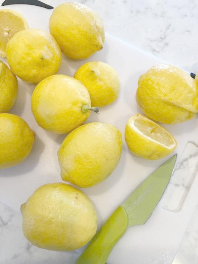 Limoncello ingredients assembled on white countertop (Viatera Minuet) - Hello Lovely Studio.