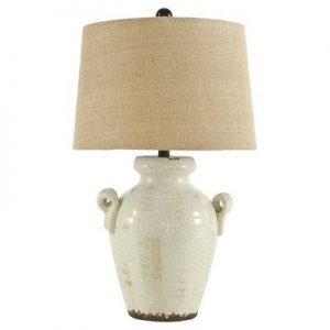 French country white urn lamp has rustic charm and a burlap shade. #lamps #frenchcountry #tablelamp #urn