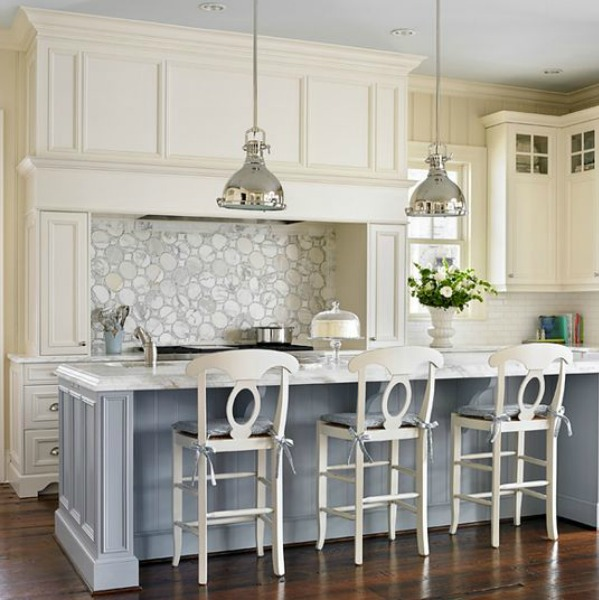 Farrow and Ball Parma Gray painted island in a beautiful classic traditional white kitchen by Mary Mac Interiors.
