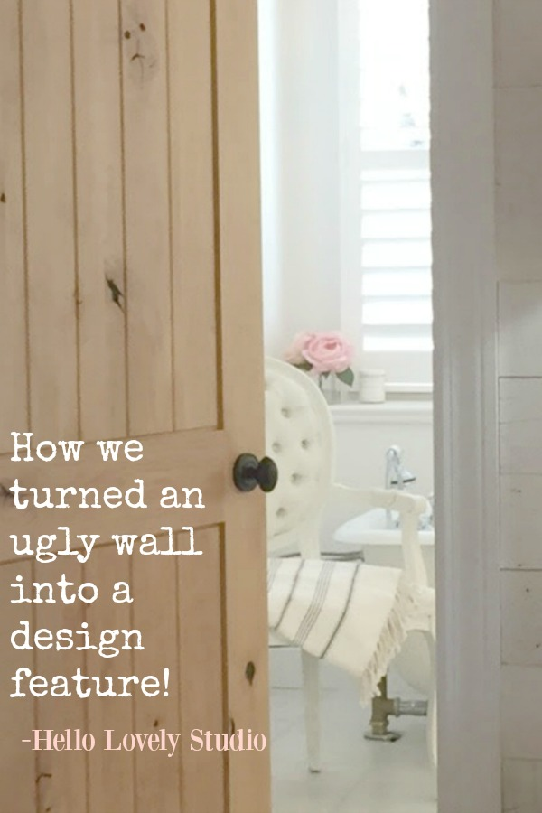 How we turned an ugly wall into a design feature - a before and after story about Hello Lovely's DIY Stikwood Hamptons accent wall in the master bedroom.
